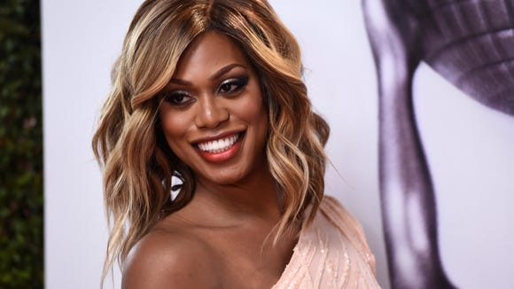 Laverne Cox arrives at the 47th NAACP Image Awards at the Pasadena Civic Auditorium on Feb. 5.