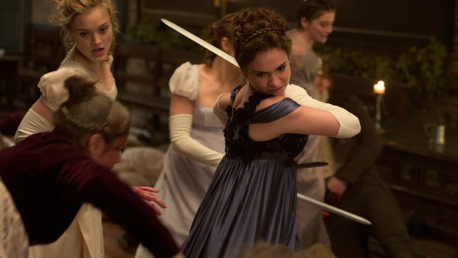 Lily James (center) in 'Pride and Prejudice and Zombies.' The Jane Austen mashup was a book by Seth Grahame-Smith before it was a movie.