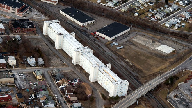 The former Endicott Johnson Victory factory site sits along the railroad tracks in Johnson City. It is not included in the redevelopment plans by Binghamton University, but spill over development could into play into a future use for the site.