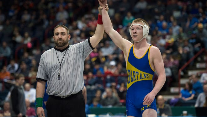 Maine-Endwell's Kobe Garrehy took home the Division II 152-pound state wrestling title with an 8-3 victory over Fredonia High School's Dakota Gardner at the Times Union Center in Albany on Saturday.
