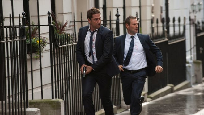 "Gerard Butler and Aaron Eckhart in ""London Has Fallen."" (David Appleby)"
