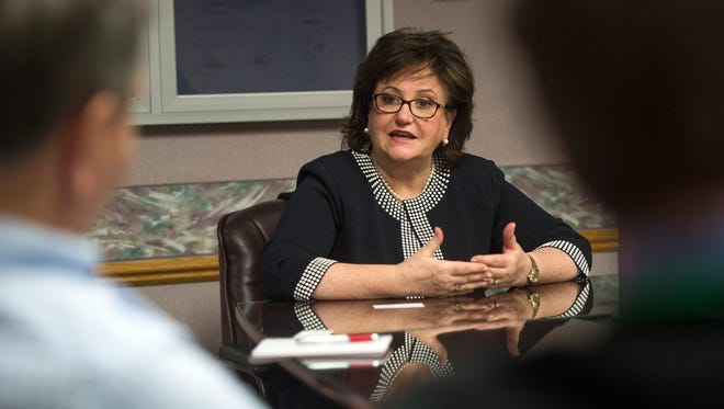 MaryEllen Elia, New York state education commissioner, speaks with the Gannett Central New York Media editorial board on March 2.
