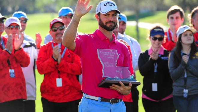 Wesley Bryan wins the 2016 Chitimacha Louisiana Open championship at Le Triomphe on Sunday.