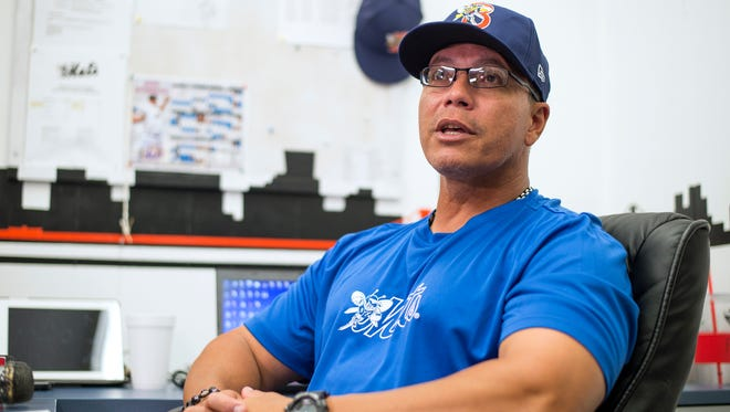 Binghamton Mets manager Pedro Lopez speaks to the media on Tuesday, April 5, 2016.