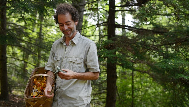 Mushroom forager Alan Muskat holds mushrooms he found in the Bent Creek Experimental Forest in 2013.