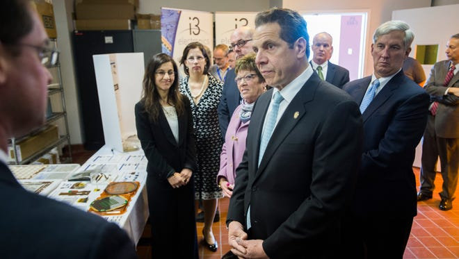 Gov. Andrew Cuomo tours the Huron campus in Endicott on Wednesday.