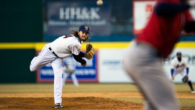 Binghamton Mets starting pitcher Robert Gsellman throws a pitch during the B-Mets 2-1 win over the New Hampshire Fisher Cats in the season opener at NYSEG Stadium on Friday, April 8, 2016.