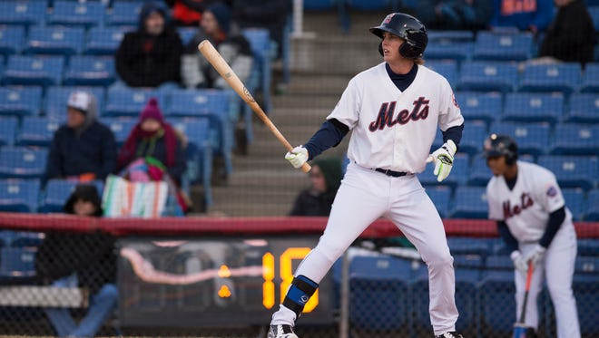 Binghamton Mets third baseman Jeff McNeil homered and drove in the go-ahead run in the B-Mets 2-1 win over the New Hampshire Fisher Cats in the season opener at NYSEG Stadium on Friday, April 8, 2016.