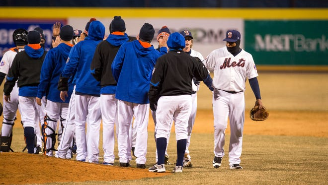 The Binghamton Mets rode an eighth-inning go-ahead double from Jeff McNeil to a 2-1 win over the New Hampshire Fisher Cats in the season opener at NYSEG Stadium on Friday, April 8, 2016.