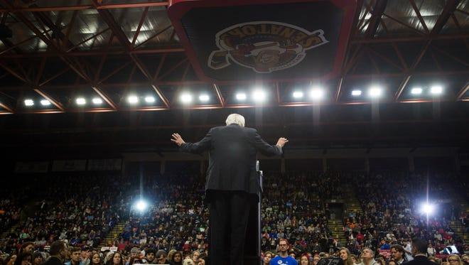 Democratic presidential hopeful Bernie Sanders speaks in front of a crowd of thousands April 11 at the Floyd L. Maines Veterans Memorial Arena in Binghamton.