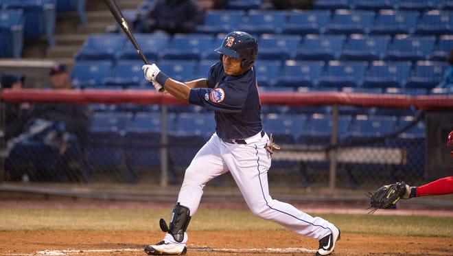 Binghamton Mets left fielder Victor Cruzado against the Harrisburg Senators at NYSEG Stadium on April 12.