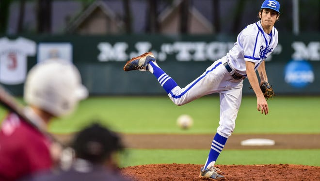 Erath starting pitcher Luke Young pitches during Thursday's loss to E.D. White on Thursday at Tigue Moore Field.