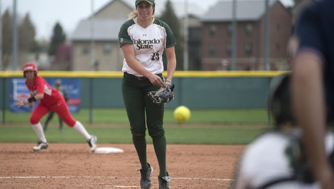 CSU's Holly Reinke, shown in a file photo, threw a no-hitter at UNLV on Sunday.