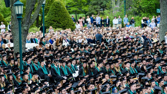 University of Vermont class of 2016 attends the University of Vermont commencement proceedings in Burlington on Sunday.
