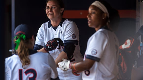 Auburn's Haley Fagan is pictured in the dugout after hitting a homerun against Arizona in the 5th inning during Game 3 of the NCAA Super Regional on Sunday, May 29, 2016 at Jane B. Moore Field in Auburn, Ala. Auburn won, 6-1.