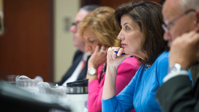 Lt. Gov. Kathy Hochul listens to testimony from local health officials during a public listening session held by the New York State Heroin and Opioid Task Force at Binghamton University on Tuesday, May 31, 2016.