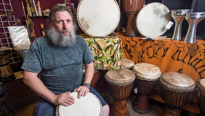 Robert Wandell has been making West African-style drums such as the Djembe and Bugaraboo for over 30 years. While he doesn't carve the wooden bodies of the drums, he assembles the instruments nearly from scratch, treating and stretching the goat and cow skins used for the drumheads, and crafting the rivets that hold it together.