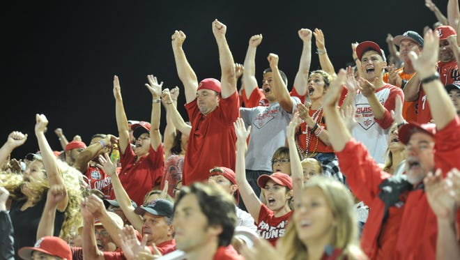 UL fans cheer during a 2016 NCAA Tournament win over Princeton at M.L. Tigue Moore Field.