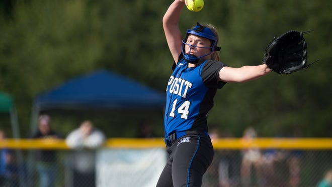 Deposit pitcher Makenzie Stiles delivers a pitch in the Class D championship game in South Glens Falls on June 11. Deposit won the game 13-0.