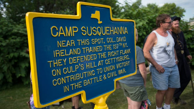 A historical marker at South Side Veteran's Park honors the 137th New York Volunteer Infantry. Col. David Ireland trained the 137th at Camp Susquehanna on Binghamton's South Side before going on to fight in a number of battles during the Civil War, including the Battle of Gettysburg.