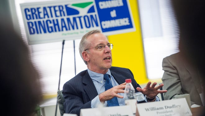 William Dudley, president of the Federal Reserve Bank of New York, speaks during a round table meeting with local business leaders in downtown Binghamton on Tuesday, July 5, 2016.