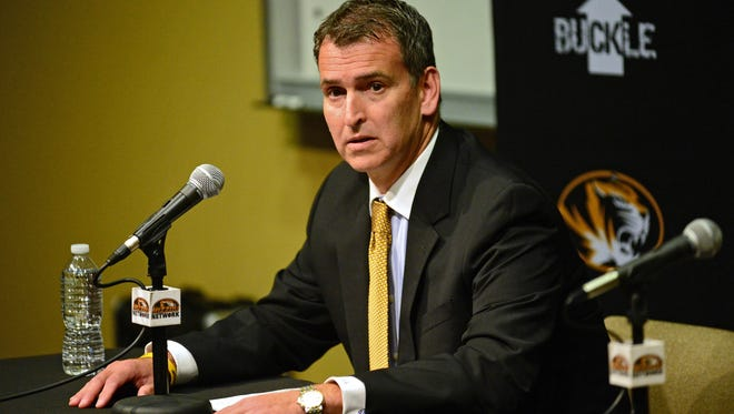 Missouri athletic director Mack Rhoades speaks at a news conference in November, 2015.