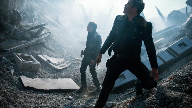 """In this image released by Paramount Pictures, Anton Yelchin, left, and Chris Pine appear in a scene from, """"Star Trek Beyond."""""""