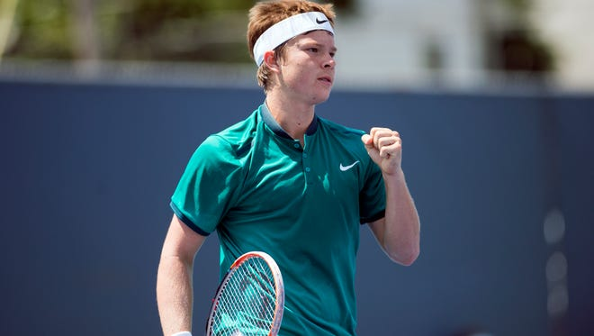 Stefan Kozlov celebrates during his second round match against Daniel Nguyen at the Levene Gouldin & Thompson Tennis Challenger on Wednesday, July 20.