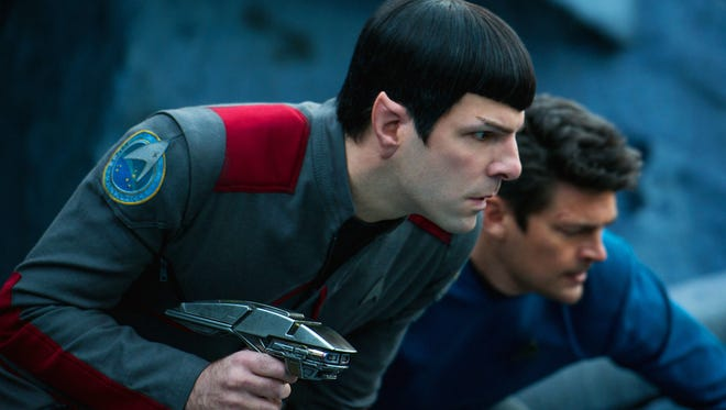 """In this image released by Paramount Pictures, Zachary Quinto, left, and Karl Urban appear in a scene from """"Star Trek Beyond."""" (Kimberley French/Paramount Pictures via AP)"""