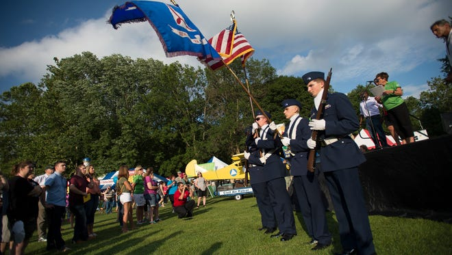 Members of the Civil Air patrol stand at attention during the opening ceremony of Spiedie Fest.