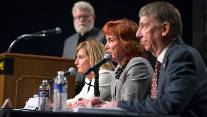 Congressional candidates Claudia Tenney, Kim Myers and Martin Babinec participate in a debate Thursday at SUNY Broome Community College.