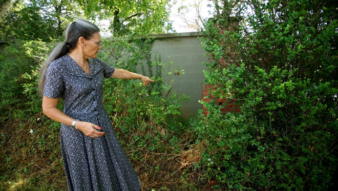 Debra Chilton-Belloni points out a wall that was built 10 years ago behind a hedge row to help reduce traffic noise at her 19th century home along N. Augusta Street in Staunton on July 27, 2016. The city of Staunton said the wall was not built in accordance to the zoning regulations for a corner lot.