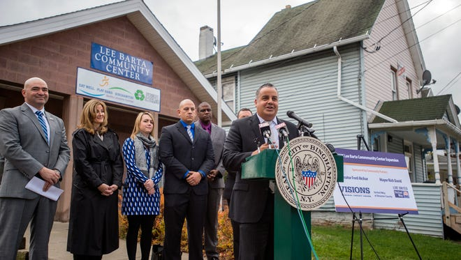 Binghamton Mayor Richard David announces a $450,000 expansion project to the Lee Barta Community Center that will triple the size of the facility on Thursday, Nov. 17, 2016.