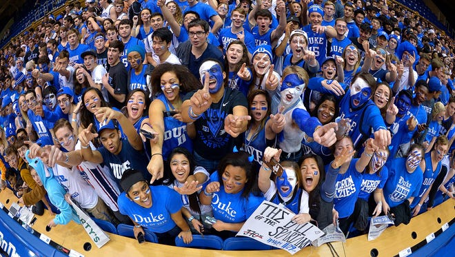 626526272.jpg DURHAM, NC - NOVEMBER 29:  The Cameron Crazies cheer during the game between the Duke Blue Devils and the Michigan State Spartans at Cameron Indoor Stadium on November 29, 2016 in Durham, North Carolina.  (Photo by Grant Halverson/Getty Images)