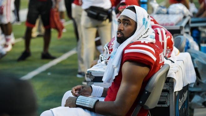 UL quarterback Anthony Jennings rests during a win over McNeese State earlier this season.