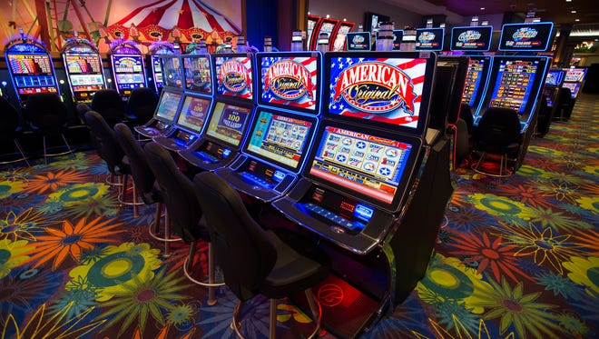 Slot machines on the new gaming floor at Tioga Downs Casino on Friday.