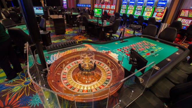 A roulette table on the new casino gaming floor at Tioga Downs on Friday.