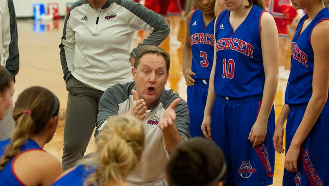 Mercer County head basketball coach Chris G. Souder makes a strong point to his players during a time-out.07 January 2017