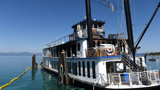 A fire was reported on the Tahoe Queen paddle wheeler at Zephyr Cove on Lake Tahoe on Tuesday. Two construction workers were injured. The Tahoe Queen paddle wheel boat is seen after catching fire in Zephyr Cove on Lake Tahoe on Aug. 16, 2016.