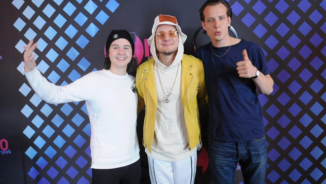 Lukas Forchhammer, Mark Falgren and Magnus Larsson of the band Lukas Graham at Z100's Jingle Ball 2016 at Madison Square Garden on Dec. 9, 2016, in New York City.