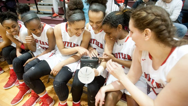Butler celebrates their 2017 Girls' LIT championship trophy after defeating Male, 85-57.28 January 2017
