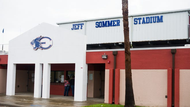 The outside of the Jeff Sommer Stadium at Estero high school in 2016.