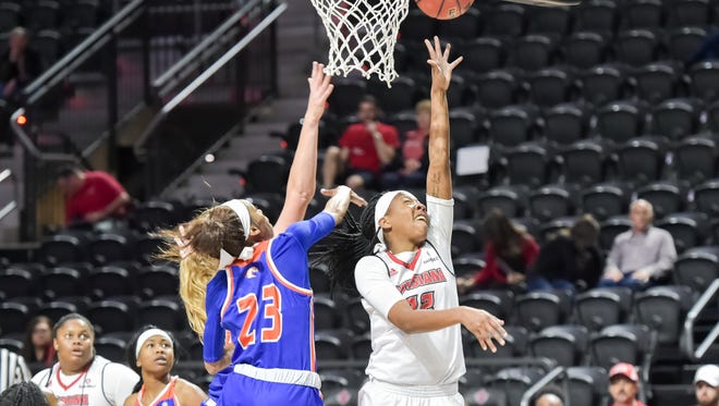 UL's Gabby Alexander takes it to the basket during the Cajuns' 79-76 loss to UTA on Saturday at the Cajundome