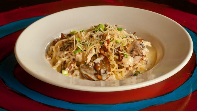 Cafe Lou Lou's pasta carbonara: a chicken pasta dish made with mushrooms, red and green onions and bacon served in a parmesan cream sauce over linguini. The restaurant soon will be rebranded as Lou Lou Food + Drink.