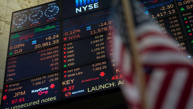 A video board displays the day's numbers at the closing bell of the Dow Industrial Average at the New York Stock Exchange April 27, 2017. (AFP PHOTO / Bryan R. Smith/AFP/Getty Images)