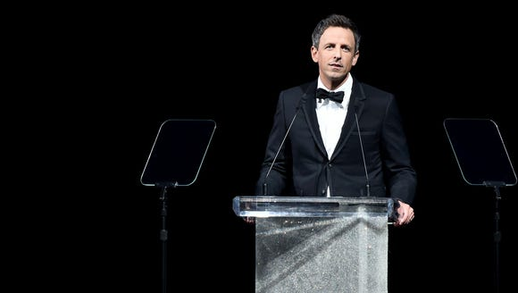 Seth Meyers onstage at the 2017 CFDA Fashion Awards.