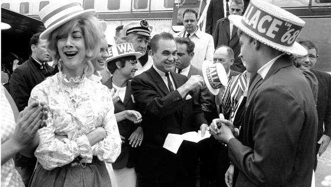 In this June 28,1968 file photo, presidential candidate, former Alabama Gov, George Wallace arrives in Boston.