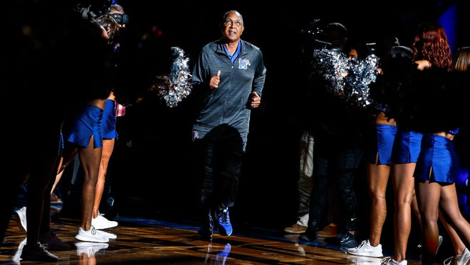Tiger head coach Tubby Smith during Memphis Madness at the FedExForum Wednesday, Oct. 12, 2017.