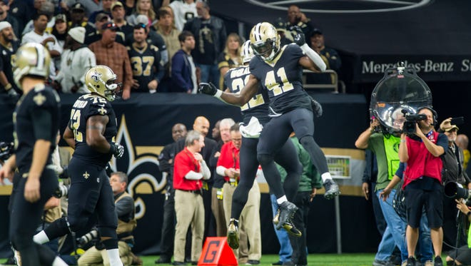 Marcus Ingram III and Alvin Kamara celebrate after an Ingram touchdown as The New Orleans Saints host the Chicago Bears in the Mercedes-Benz Superdome.  Sunday, Oct. 29, 2017.