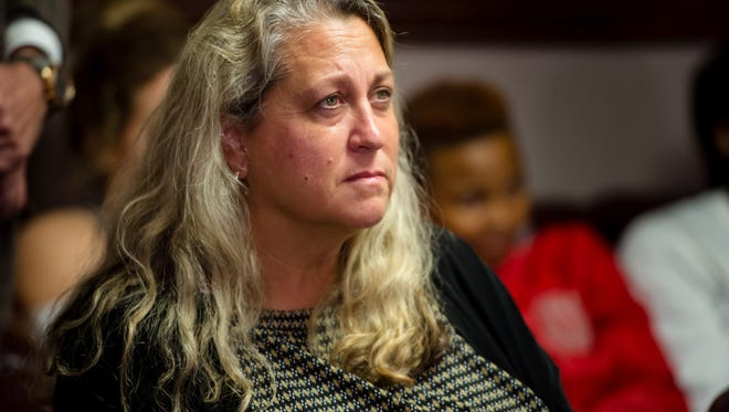 Stefni Lotief at press conference to address media following the news that her husband Michael Lotief had been fired as Head Coach of Louisianas Ragin Cajun Softball.  Wednesday, Nov. 1, 2017.